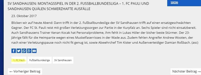 MagischerFC Sandhausen 1. FC Pauli